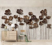Dark Poppy Floral Wallpaper Mural