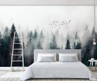 Misty Dark Forest Landscape Wallpaper Mural