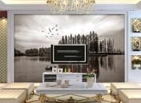 Monochrome Dark Forest and Lake Wallpaper Mural