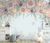 Nostalgic Dark Vine Flowers Wallpaper Mural