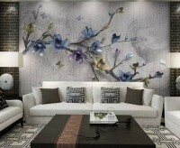 Retro Magnolia Blossom Wallpaper Mural
