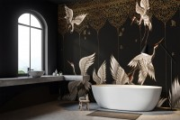 Asian Crane Birds and Gold Style Ornaments Wallpaper Mural