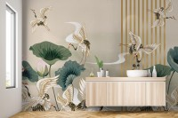 Chinese Crane Birds with Lotus Florals Wallpaper Mural