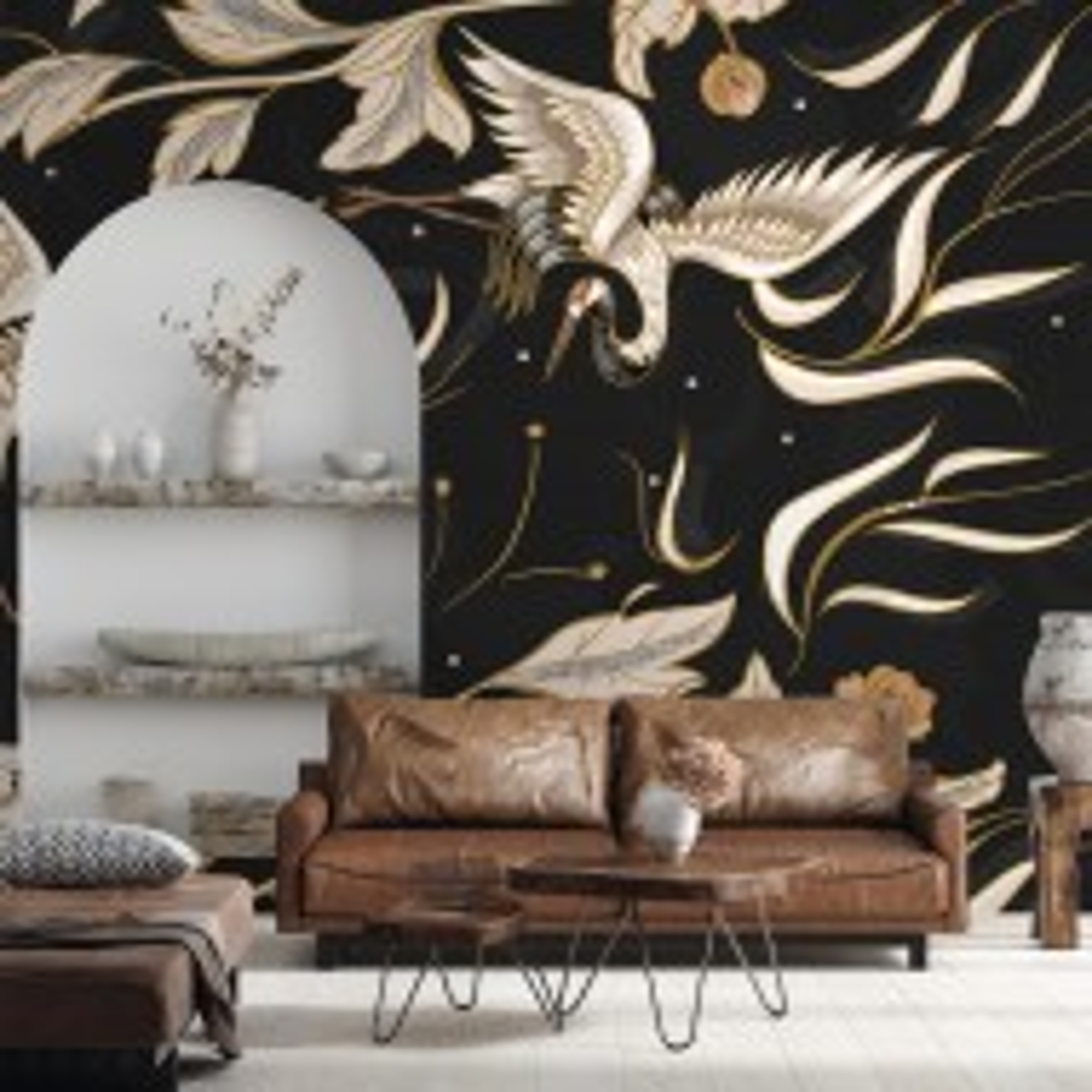 Dark Crane Birds and Brown Retro Florals Wallpaper Mural