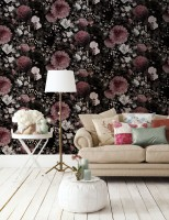 Dark Floral with Pink Chrysanthemum Wallpaper Mural