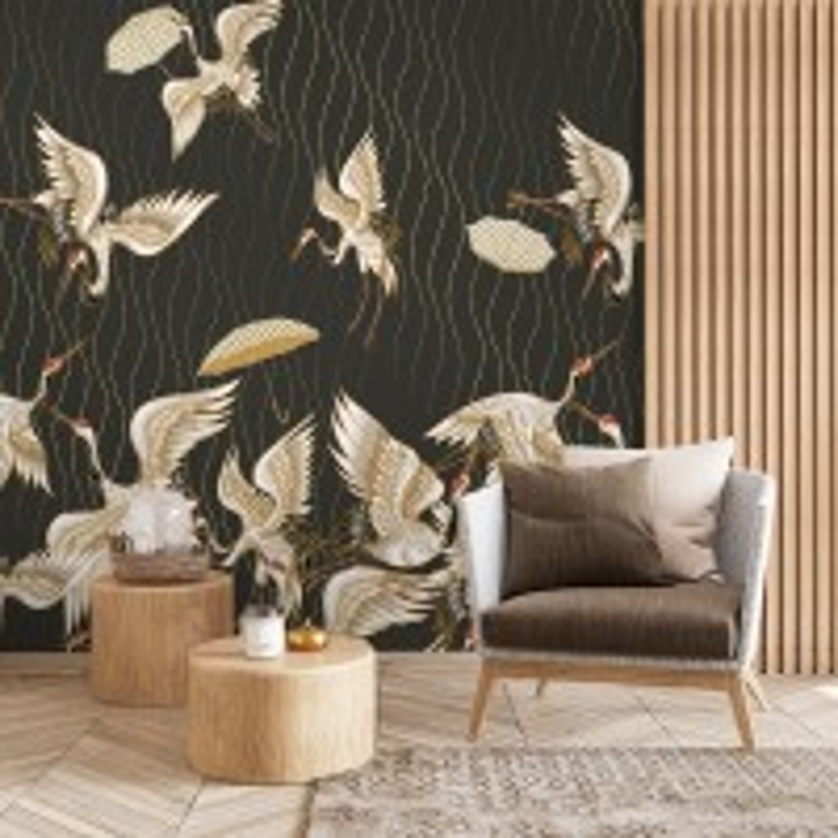 Gold Style Vintage Asian Crane Birds Wallpaper Mural