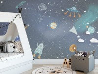Kids Cartoon Space with Colorful Planets and Little Stars Wallpaper Mural