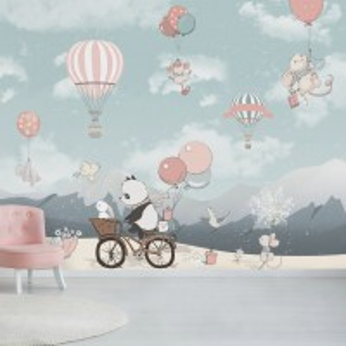 Kids Cute Panda Bicycle with Hot Air Balloon Wallpaper Mural