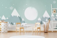 Kids Mountainscape with Cute Bear and Green Skyscape Wallpaper Mural