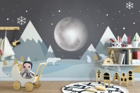 Kids Mountainscape with Cute Bears and Nightscape Wallpaper Mural