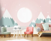 Kids Mountainscape with Cute Bears and Pink Skyscape Wallpaper Mural