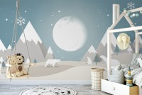 Kids Mountainscape with Fullmoon and White Bears Wallpaper Mural