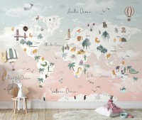 Kids Pink World Map with Cute Animals and Little Balloons Wallpaper Mural