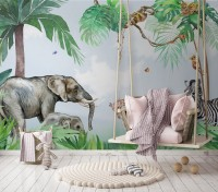 Kids Tropical Forest with Cute Safari Animals Wallpaper Mural