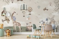 Kids Woodland Animals with Vintage Aircraft and Windmill Wallpaper Mural