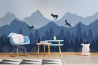 Monochrome Dark Blue Snowy Forest with Horned Deer Silhouette Wallpaper Mural