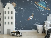 Shining Cartoon Space with White Stripe Wallpaper Mural