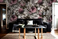 Vintage Floral with Pink Chrysanthemum Wallpaper Mural