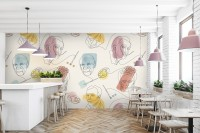 Artist Face Line Art with Colorful Abstract Brush Wallpaper Mural