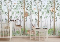 Cute Animals in the Forest Watercolor Kids Wallpaper Murals
