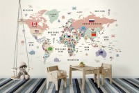 Kids Colorful World Map with Flags Map Wallpaper Mural