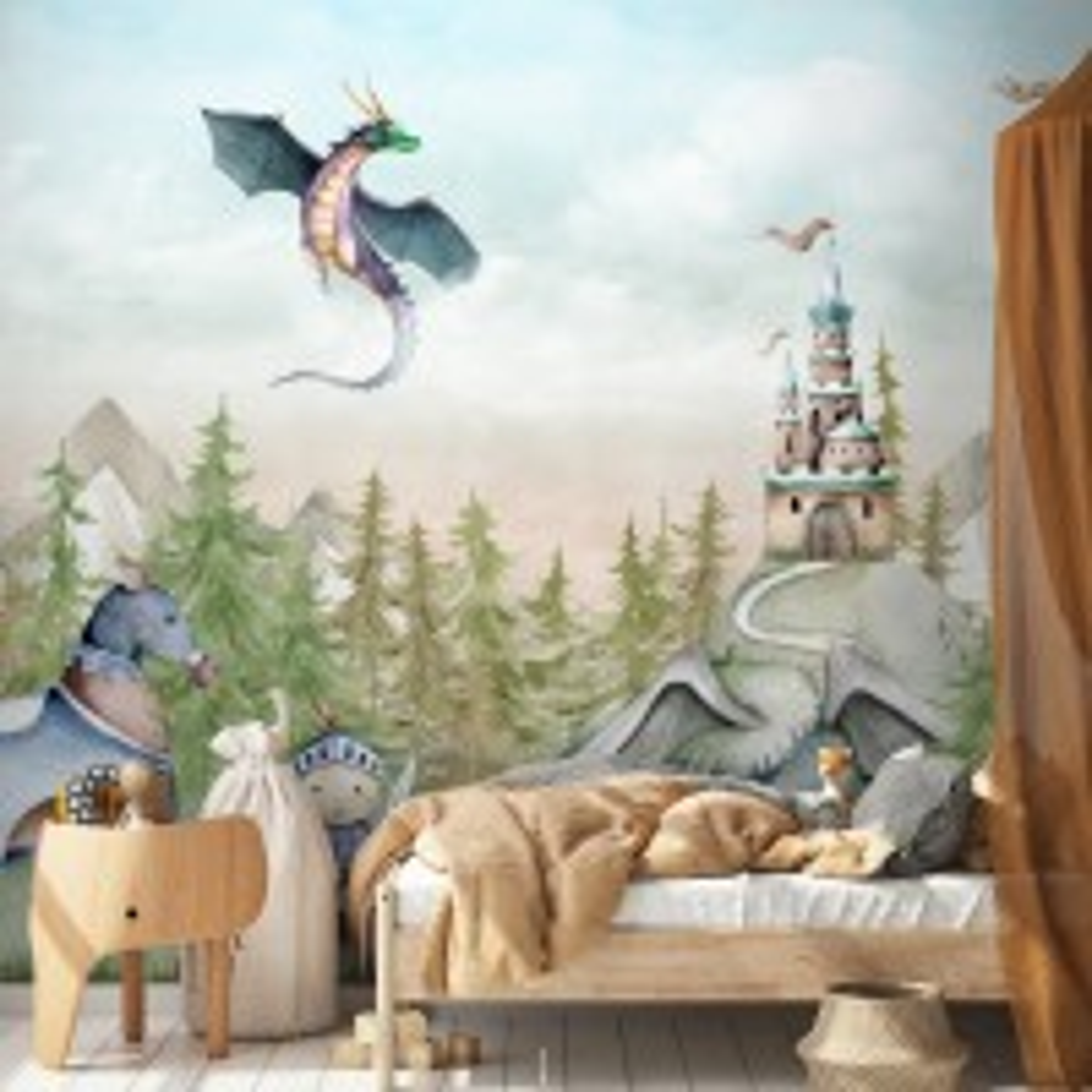 Kids Dragons Fairytale Cute Prince and Princess Wallpaper Mural