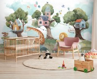 Kids Forest Animals with Treehouse Wallpaper Mural