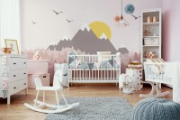 Kids Mountain Landscape with Trees Wallpaper Mural