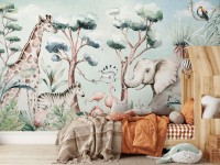 Kids Nursery Safari Animals and Flamingo in the Forest Wallpaper Mural