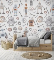 Kids Watercolor Robot Wallpaper Mural