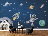 Kids Watercolor Space with Spaceship and Astronaut Wallpaper Mural