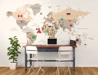 Political World Map and Country Flag Wallpaper Mural