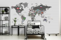 Political World Map with Country Flags Wallpaper Mural