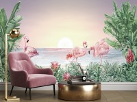 Tropical Landscape with Flamingos Wallpaper Mural