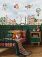 Watercolor Cute Houses with Flying Animals Wallpaper Mural for Kids