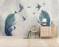Monochrome Feather and Birds Wallpaper Mural