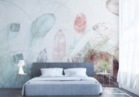 Soft Feathers with Abstract Lines Wallpaper Mural