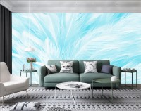 Turquoise Feather Pattern Wallpaper Mural
