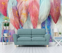 Watercolor Colorful Feather Pattern Wallpaper Mural