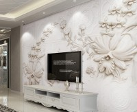 3D Embossed Look Cement Lily Flower Wallpaper Mural