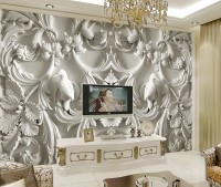 3D Embossed Look Cement Sculpture Floral Wallpaper Mural