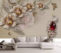 3D Embossed Look Crystal Floral Art Wallpaper Mural
