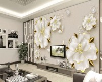 3D Embossed Look Jewelry Roses Wallpaper Mural