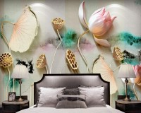 3D Embossed Look Lotus Floral Wallpaper Mural