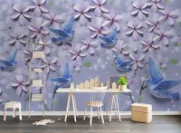 3D Embossed Look Pink Daisy and Birds Wallpaper Mural