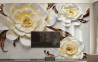 3D Embossed Look Yellow Floral Wallpaper Mural