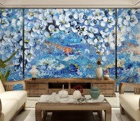 3D Embossed Style White Floral Wallpaper Mural