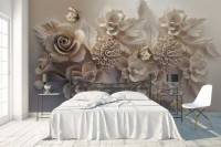 3D Look Faux Embossed Floral Wallpaper Mural