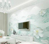 3D Look Floral with Abstract Line Wallpaper Mural