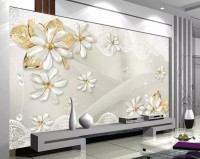 3D Look Jewelry Flower and Lace Wallpaper Mural
